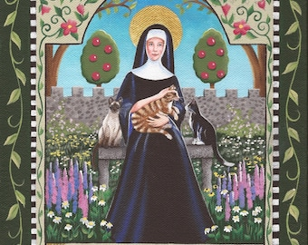 Saint Gertrude of Nivelles, Patron of Cats and Gardeners - 8 x 10 Print of Original Acrylic Painting by Carolee Clark
