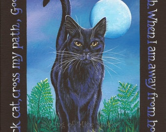 LUCKY CAT - Old English Black Cat Charm - 8 x 10 Print of Original Acrylic Black Cat Painting by Carolee Clark