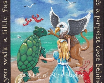 The Lobster Quadrille - Alice in Wonderland - 8 x 10 Print of Original Acrylic Painting by Carolee Clark