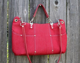 Purse /  Handbag / Shoulder Bag / Stylish / Handmade / Red Denim / leather shoulder and hand straps / Contemporary multi colred mod interior