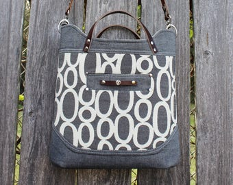 Modern Gray with Leather Straps Denim and Home Dec fabric Handbag, Shoulderbag