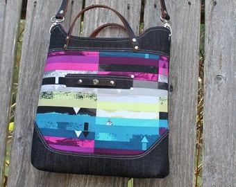 Chic Modern Denim with leather Straps Handbag, Purse, Shoulder bag