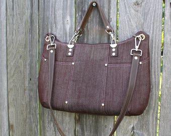 Purse /  Handbag / Crossbody Bag / Shoulder Bag / Stylish / Handmade / Chocolate Brown Denim / leather shoulder and hand straps