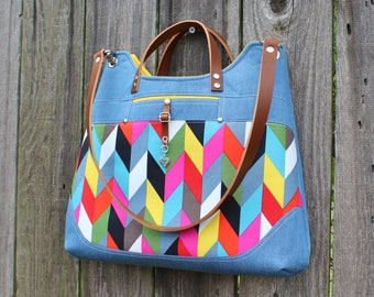 Purse, Hand bag Shoulder bag, Chic modern multi colored herringbone denim with leather straps