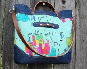 Modern City Scape Denim and Cotton Leather Strap Handbag, Shoulder Bag