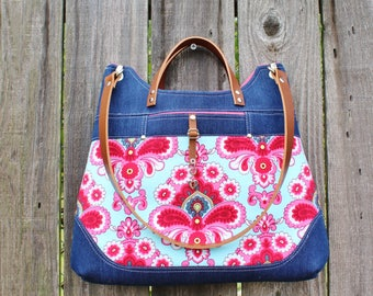 Chic Blue Denim Purse, Belle Aqua and Pink modern damask Handbag Shoulder bag, ewith leather straps