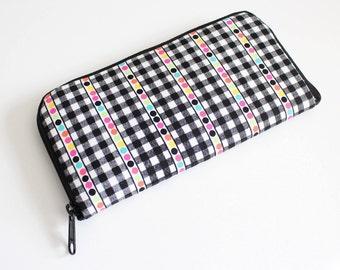 Womens zip around wallet / Checkbook Cell Phone Passport Credit Card Wallet / Accordian wallet / Black white multi dot stripe