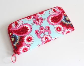 Womens zip around wallet / Checkbook Wallet / Cell Phone Wallet / Passport Wallet / Credit Card Wallet / Accordian wallet / Pink Aqua Belle