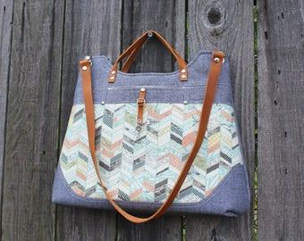 Chic Dusty Blue Denim Purse, Handbag Shoulder bag, Cream and Peach herringbone with leather straps