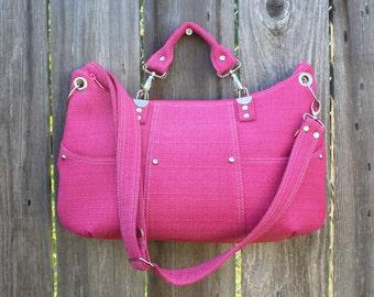 Purse /  Handbag / Crossbody Bag / Shoulder Bag / Stylish / Handmade / Hot Pink / White