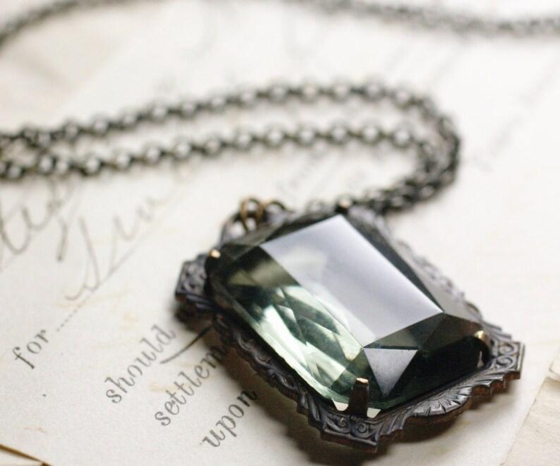 Noir crystal necklace grey jewel goth Victorian black glamour image 0