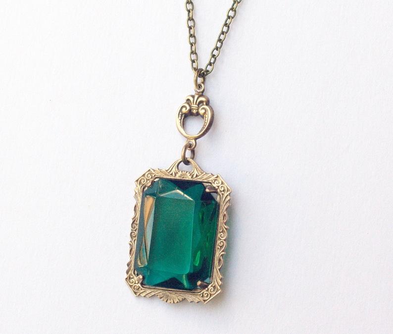 Mayfair necklace emerald crystal victorian bronze vintage image 0