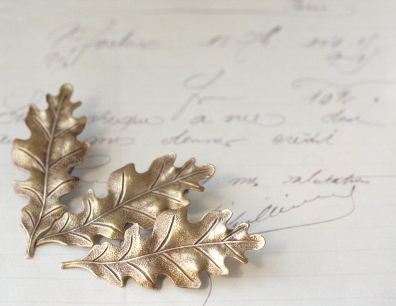 Oak leaf hair clips bridal three barrettes antique Victorian image 0