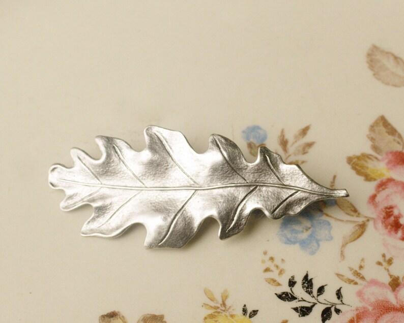 Oak leaf hair clip silver barrette antique style Victorian image 0