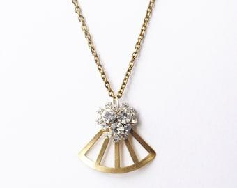 Crystal necklace art deco brass 1930s style retro geometric fan jewel rhinestone vintage bridal old hollywood glamour pendant