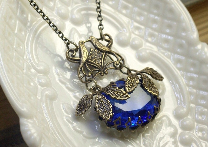 Victorian bird crystal necklace sapphire blue vintage jewel image 0