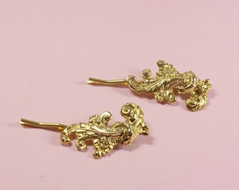 Gold bridal hair pin set pair antique style rococo Marie Antoinette golden bobby pins wedding hair accessory French glamour vintage inspired