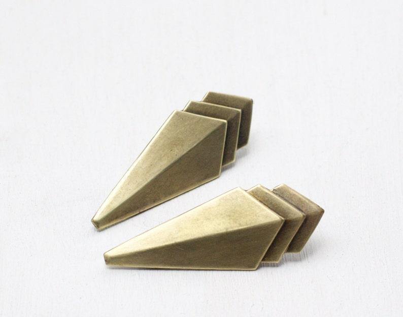 Art deco hair clips brass geometric 1930's style barrette image 0