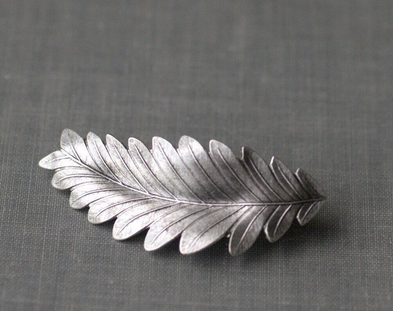 Leaf hair clip barrette grecian bridal goddess silver finish image 0