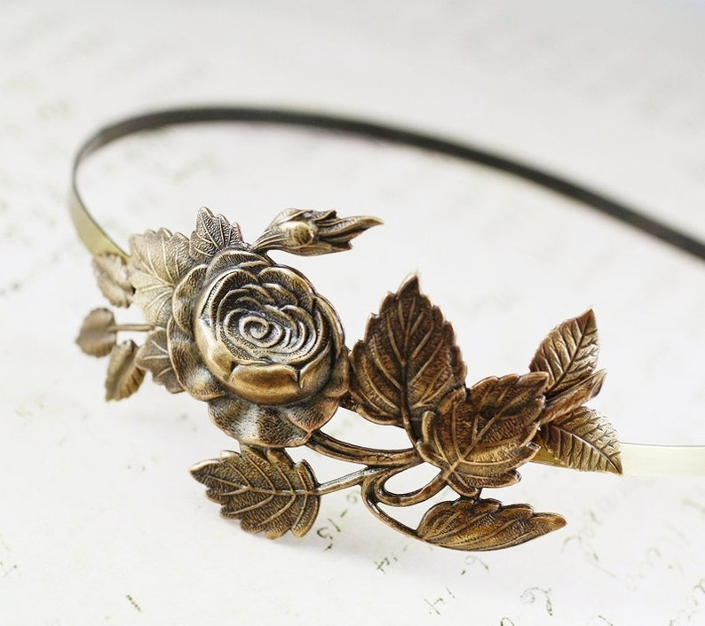 Floral headband bridal rose victorian brass vintage style bronze finish wedding hair accessory shabby and chic romantic