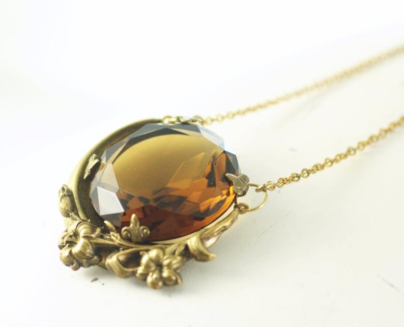 Art nouveau necklace brown jewel smoky topaz vintage style image 0