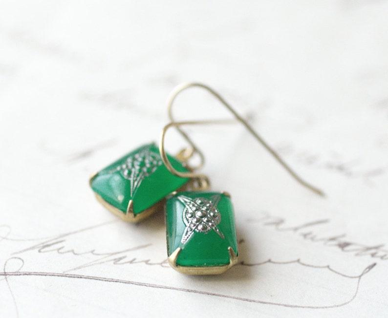 Art Deco earrings vintage jade green glass marcasite look image 0