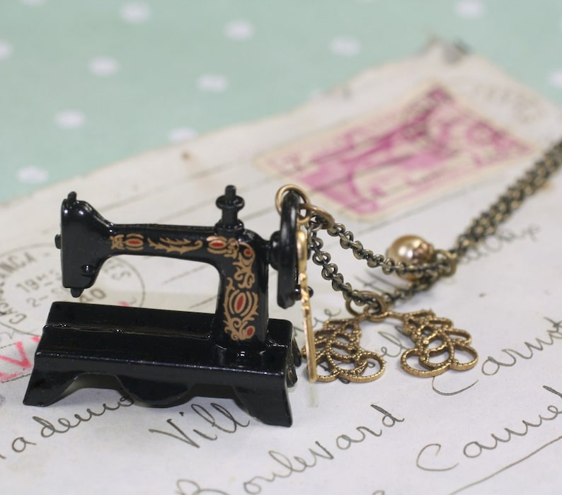 Sewing machine necklace antique style brass seamstress image 0