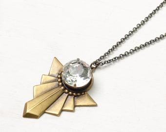 Art deco crystal necklace brass vintage 1930s style retro geometric rhinestone vintage bridal old hollywood glamour pendant