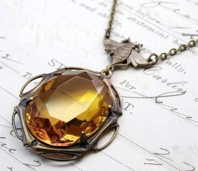 Bee necklace art deco crystal jewel amber art nouveau honey image 0