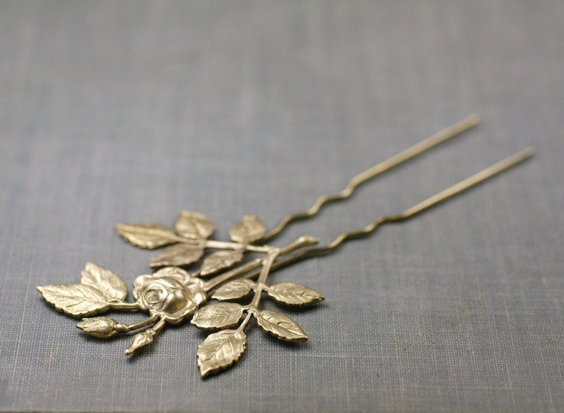 Rose hair pin bridal comb fork brass silver floral pick leaves image 0