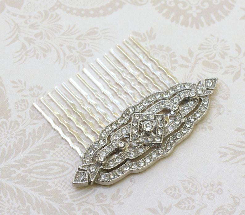 Art deco hair comb bridal crystal rhinestone antique style image 0
