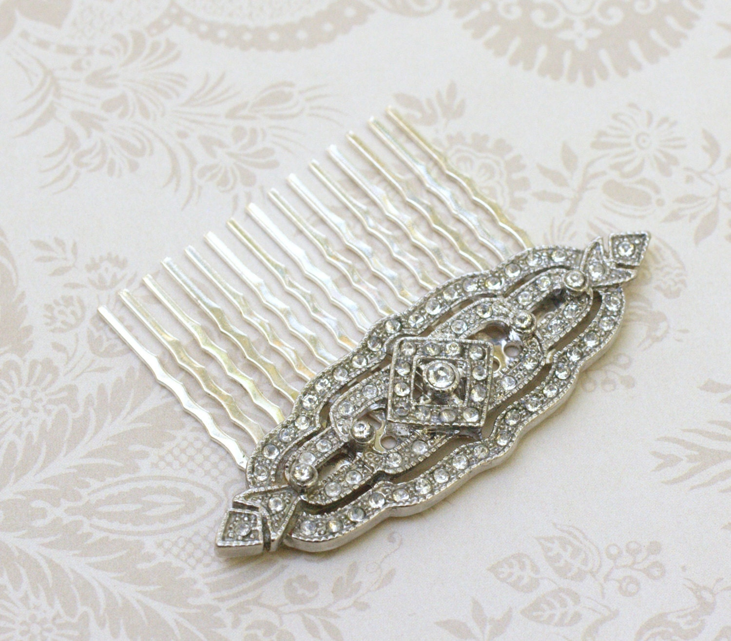Bridal Hair Comb Crystal Rhinestone Antique Style Filigree Art Etsy