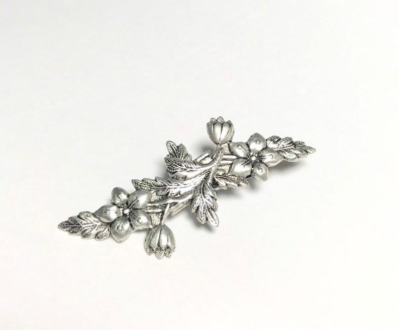 Flower barrette antique silver vintage style petite floral image 0