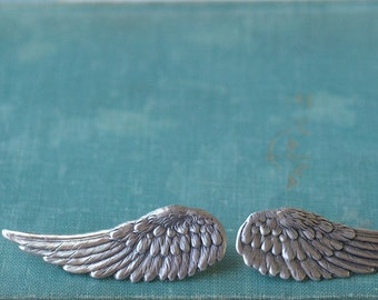 Wing hair clips barrettes angel silver finish retro fantasy hair clips pair