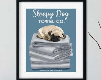 Pug Bath Towel, pug gifts, pug lovers, pug art print, wall decor, laundry room art print