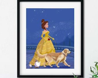 Belle walking a golden retriever, golden retriever art, golden retriever gift, dog walker gift, beauty and the beast gift