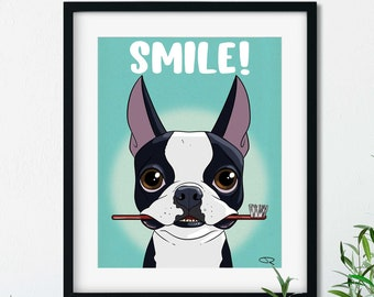 Boston toothbrush, Boston Terrier gifts, Boston Terrier lovers, boston terrier art print, wall decor, brush your teeth
