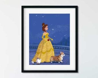 Belle walking a Corgi, corgi art, pembroke welsh corgi gift, dog walker gift, beauty and the beast gift