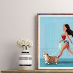 Wonder Woman walking a Corgi, Corgi gift, dog walking gift, Corgi dog art, Corgi wall art print, home wall decor
