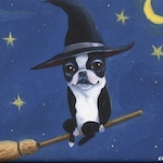 Boston Terrier gift, Boston terrier bt witch on a broom dog art magnet, Halloween magnet, Halloween boston terrier