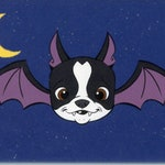 Boston terrier bat, Boston Terrier art, halloween vintage, Dog art magnet, Boston terrier gift, halloween decor, home decor, bat art
