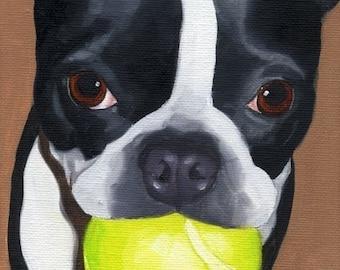 Boston Terrier Dog Art print, Boston terrier gift, Boston terrier wall decor, Boston terrier with tennis ball