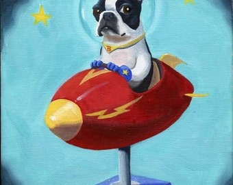 Boston Terrier gift / Boston Terrier in Space - Print from Oil Painting