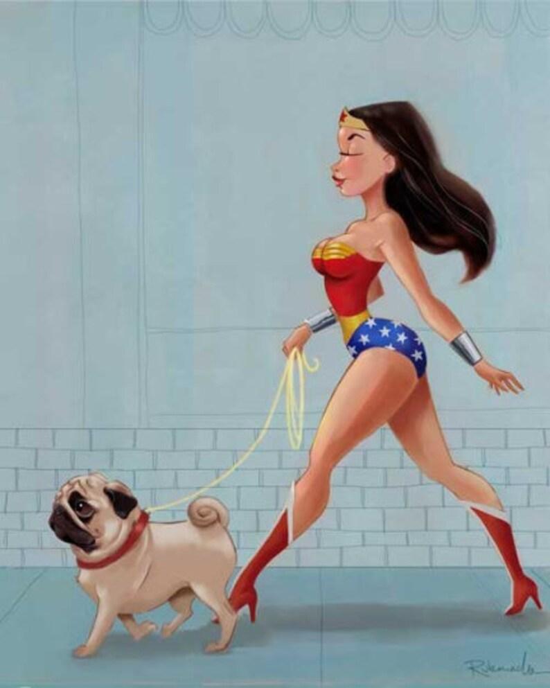 Canvas wall art Wonder Woman walking Pug Pug wall decor Pug image 0