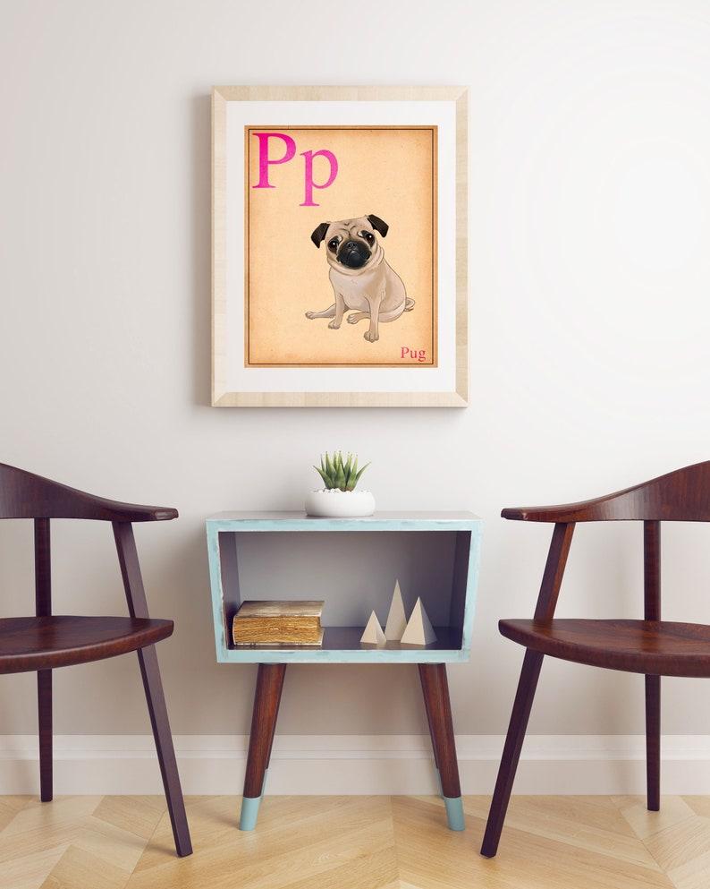 Pug gift Pug art pug print pug wall decor Cute Pug Dog Art image 0