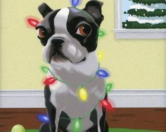 Boston Terrier gift, Boston Terrier Christmas Dog Art Magnet, boston terrier art, boston terrier magnet, boston terrier decor