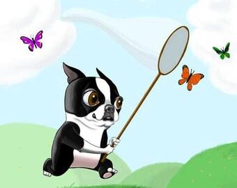 Boston terrier art print bt chasing butterflies, boston terrier gift, boston terrier dog art