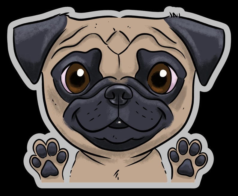 Pug clear vinyl stickers Pug stickers Pug gift dog image 0