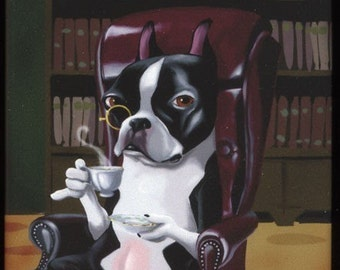 Boston Terrier Tea in the Library Dog Art Magnet, Boston terrier gift, boston terrier magnet, boston terrier art