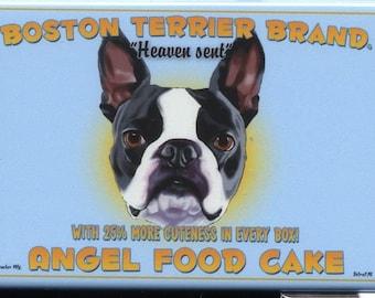 Boston Terrier Angel Food Cake Dog Art Magnet